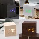 피엘디자인  우드블럭 LED탁상시계-큐브/화이트그린블루LED/전자 알람 디지털