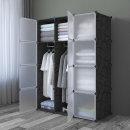 DIY 복합 선반 수납장(8칸) /드레스룸행거 원룸옷장