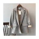 KT052 여성 루즈핏 체크 블레이져 봄 자켓